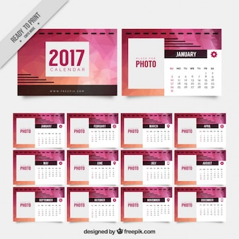 2017 polygonal calendar in pink
