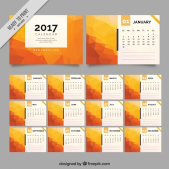 2017 polygonal orange calendar