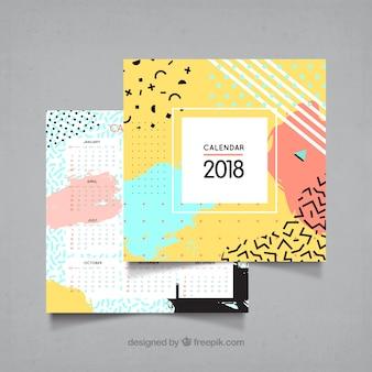 2018 calendar in memphis style