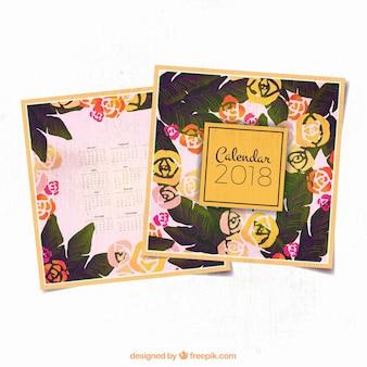 水彩スタイルの2018カレンダー