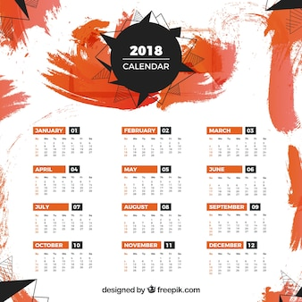 2018 calendar template with orange stains