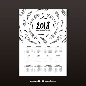 2018 calendar with feathers