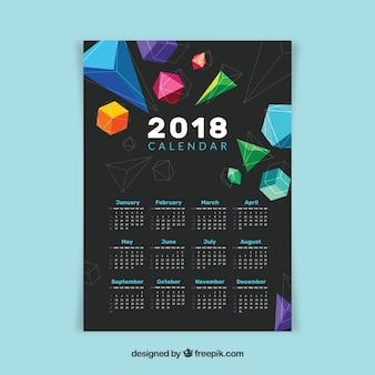 2018 calendar with geometric shapes