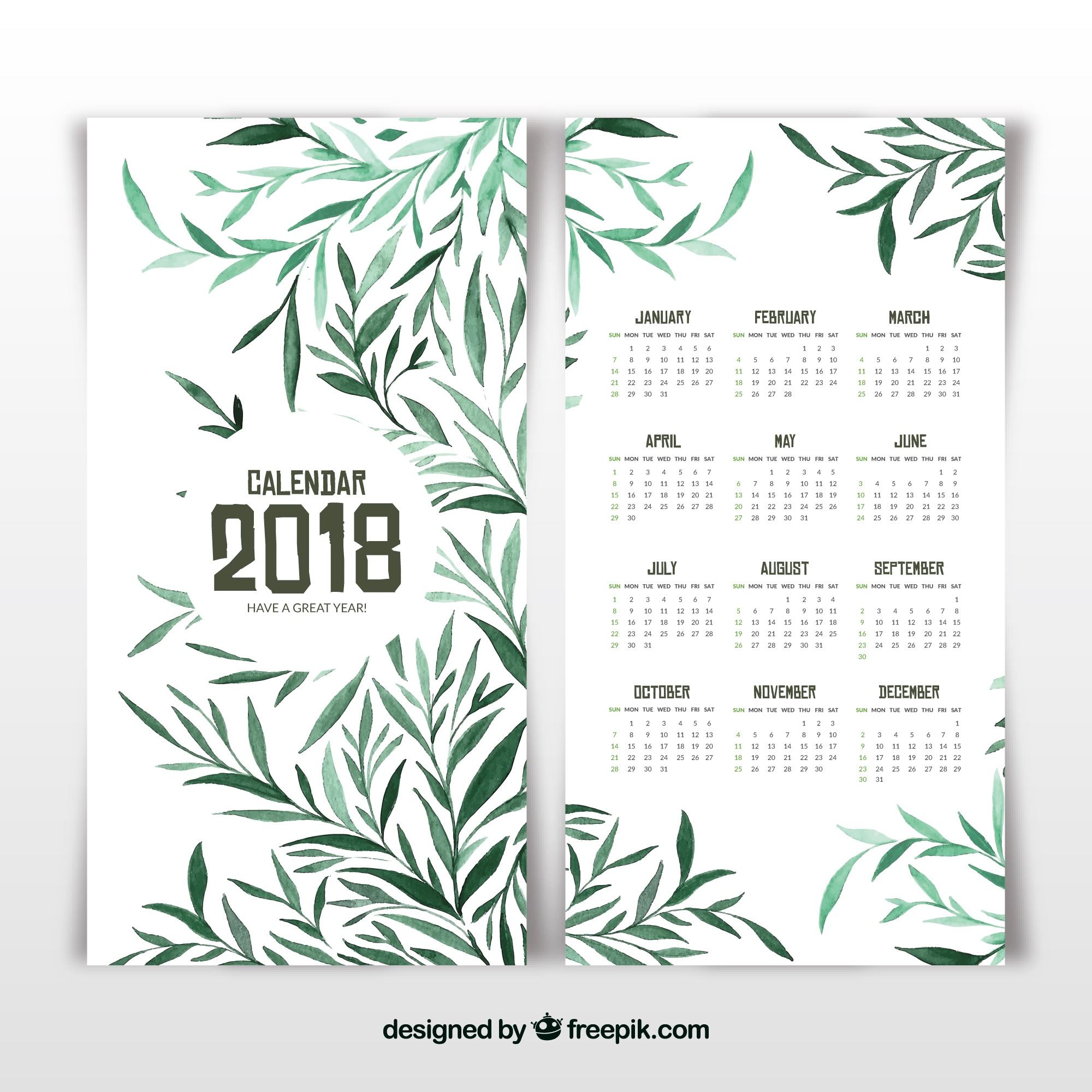 2018 calendar with green leaves