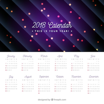2018 calendar with lights and lines