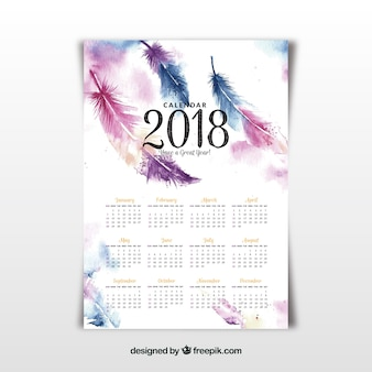 2018 calendar  with watercolor feathers
