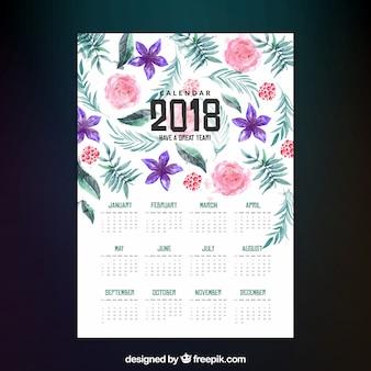 水彩の花と2018カレンダー