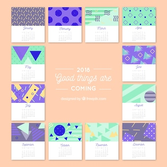 2018 creative calendar with geometric shapes