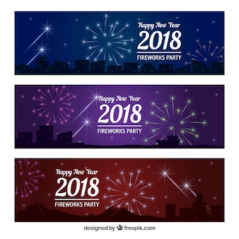 2018 happy year banners with fireworks
