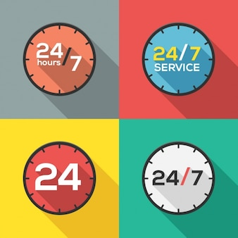 24 hours service logos collection