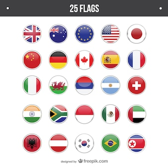 25 flags round set