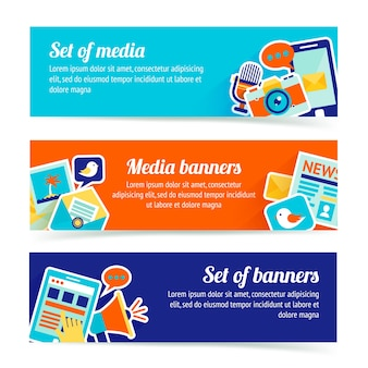 3 баннера о социальных сетях