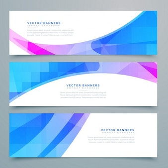 3 banners with geometric shapes