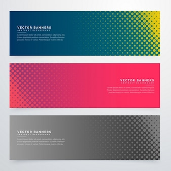 3 banners with halftone dots