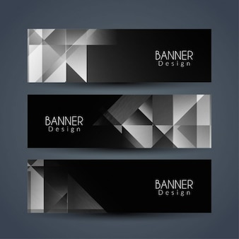 3 black polygonal banners