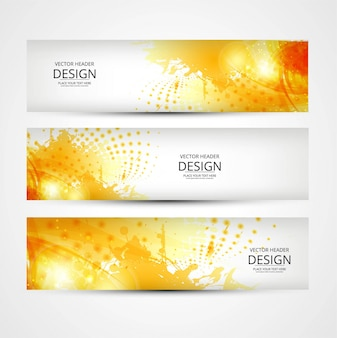 3 yellow banners with abstract shapes