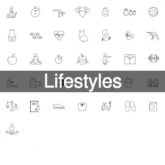 36 healthy lifestyles icons