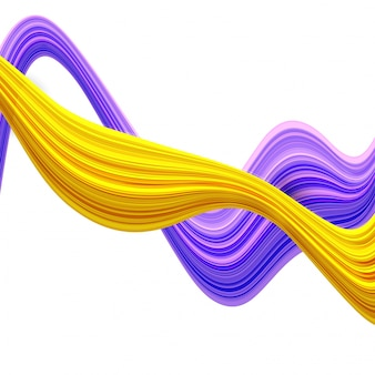 3D abstract waves in purple and yellow colors.