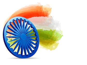 3D Ashoka Wheel with tricolor watercolor brush strokes.
