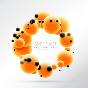 3d background with orange and black spheres