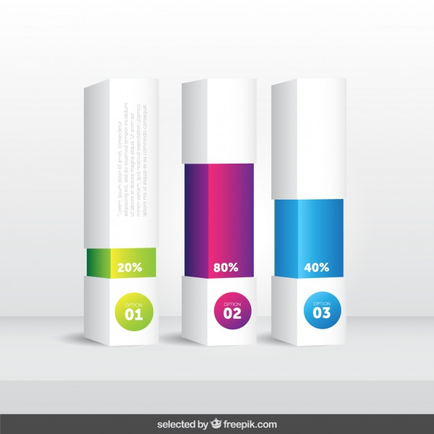 3d bars with percentage infographic