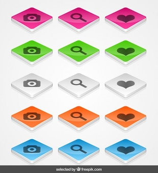 3d buttons with icons