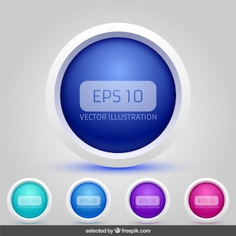 3d circular buttons collection