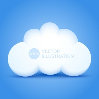 3d cloud with blue background