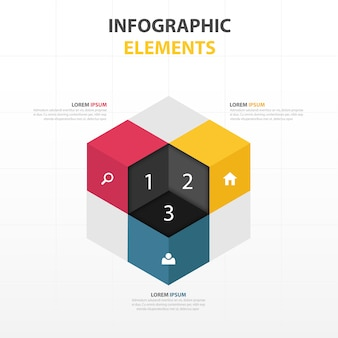 3d cube with infographics elements