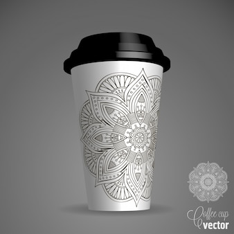 3d cup with ornamental mandala