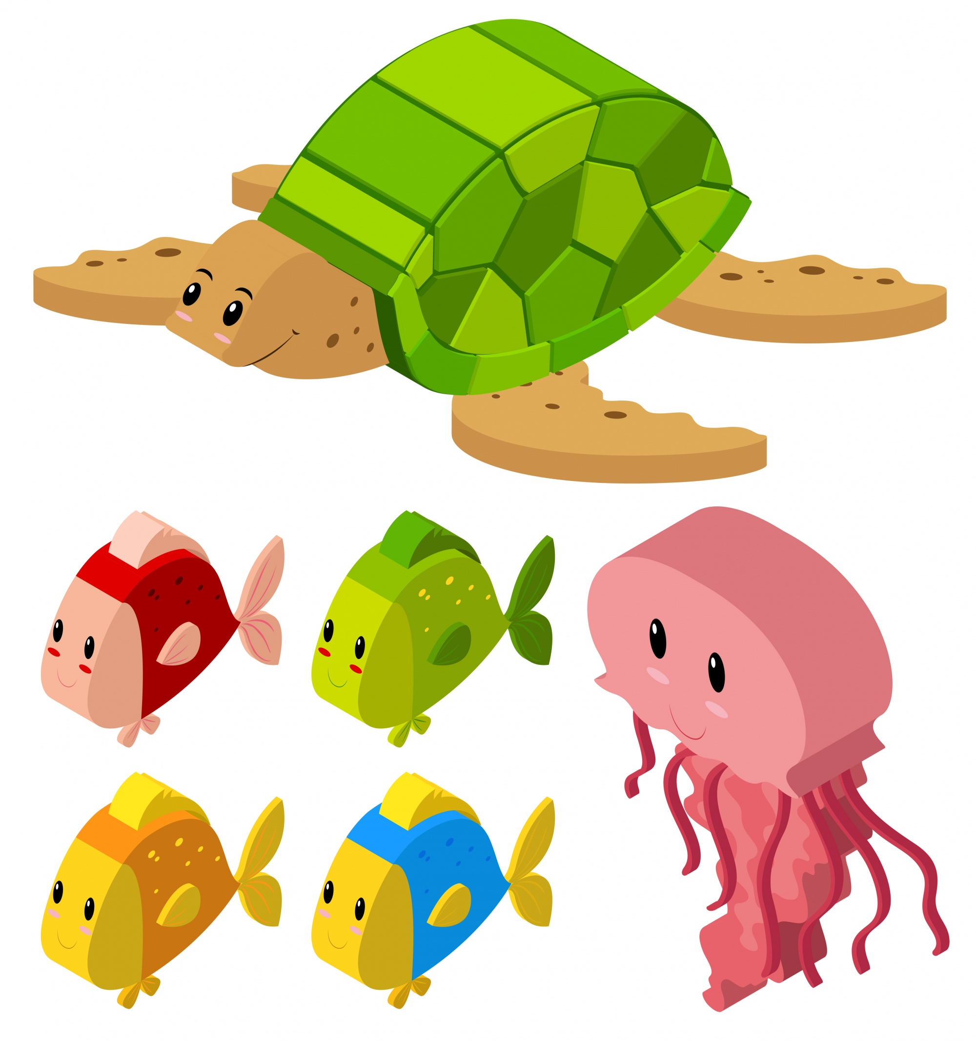 3D design for fish and turtle