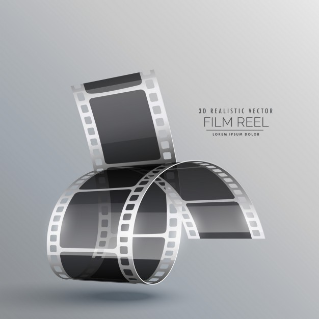 3d film roll on a gray background