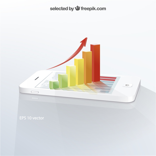 3D infographic on mobile phone
