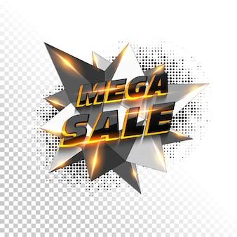 3D Mega Sale text on polygonal element.