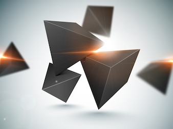 3D polygonal elements with lens flare effect.