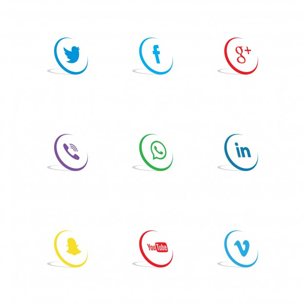 3d social network icons
