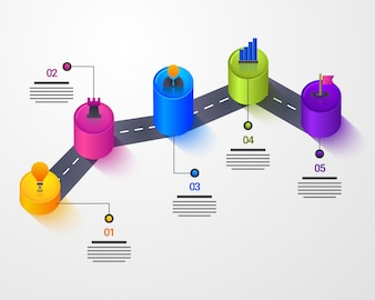 3D Timeline Infographics layout with Five (5) steps.