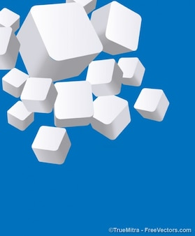 3D white cubes on blue