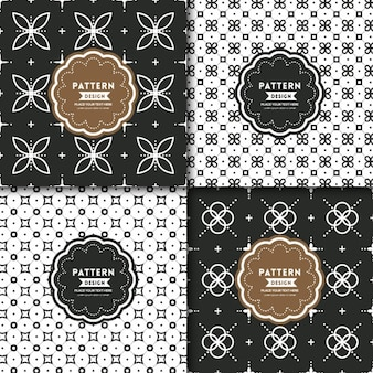 4 black and white floral patterns