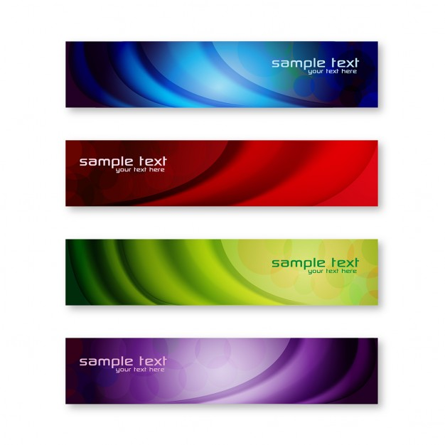 4 colorful banners with wavy lines