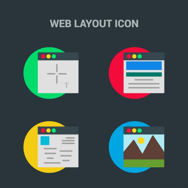 4 web template icons on black background