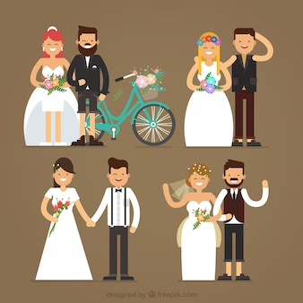 4 wedding couples, vintage style