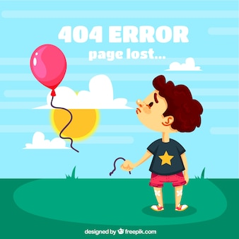 404 error background with sad child and balloons