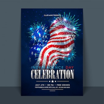 4th of July, American Independence Day celebration Flyer, Banner, Template or Invitation design with National Flag and Sparkling Fireworks.