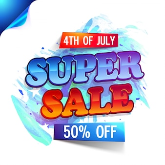 4th of July, Super Sale with 50% Discount Offer. Creative poster, banner or flyer design with curled corner.