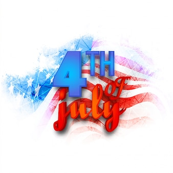 4th of July text on abstract USA Flag background for American Independence Day celebration.
