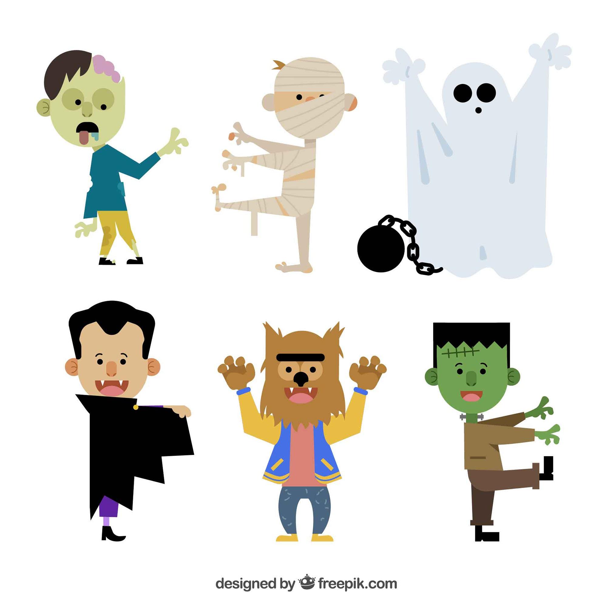 6 halloween characters on a white background