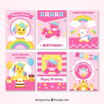 6 pink birthday cards with unicorns