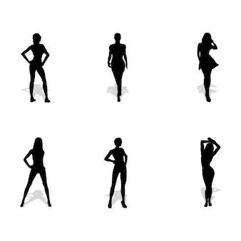6女性のシルエット