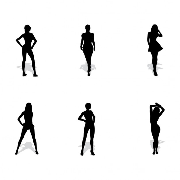 6 woman silhouettes